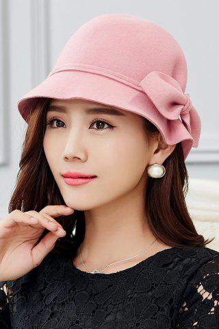 Discount Outdoor Big Bowknot Wool Cloche Hat - PINK  Mobile