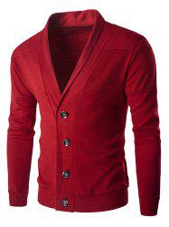 Single-Breasted Color Splicing Turn-down Collar Long Sleeves Slimming Men's Casual Cardigan - RED