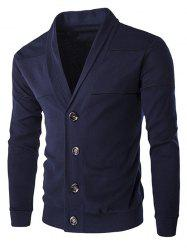 Single-Breasted Color Splicing Turn-down Collar Long Sleeves Slimming Men's Casual Cardigan -