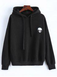 Casual Skull Print Black Hoodie For Women