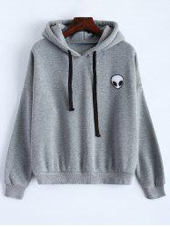 Sporty Long Sleeve Drawstring Alien Pattern Hoodie - GRAY