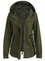 Drawstring Cargo Jacket with Hood