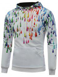 Hooded Long Sleeve Colorful Oil Paint Printed Hoodie