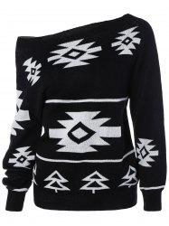 Long Sleeve Geometric Pullover Convertible Sweater - BLACK