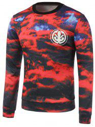 Crew Neck Graphic Cloud Print Sweatshirt - Rouge