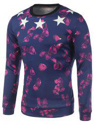 Petal and Star Printed Crew Neck Sweatshirt - DEEP BLUE XL