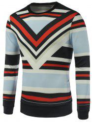 Stripe Printed Crew Neck Sweatshirt