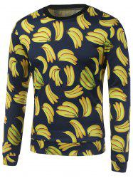 All Over Banana Printed Crew Neck Sweatshirt - YELLOW