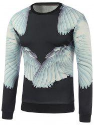 Crew Neck 3D Wing Printed Sweatshirt - BLACK XL