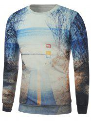 3D Scenic Printed Round Neck Sweatshirt - BLUE XL