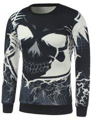 Crew Neck Cartoon Skull Printed Sweatshirt - BLACK