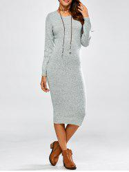 Cut Out Long Sleeve Fitted Midi Jumper Dress -