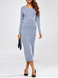 Cut Out Long Sleeve Fitted Midi Jumper Dress