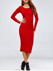 Buttoned Long Sleeve Pencil Knitting Dress -