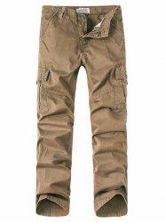 Zipper Fly Button Pocket Straight Leg Cargo Pants