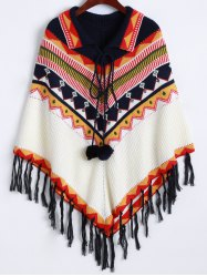 Lace-Up Fringed Cape Sweater -