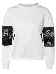 Sequined Patched Loose Sweatshirt -