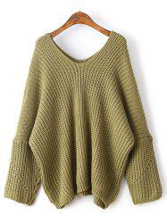 Loose Dolman Sleeve Chunky Sweater - YELLOW GREEN ONE SIZE