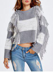 Fringed Color Block Cropped Sweater -