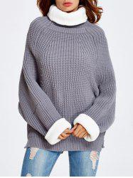 Back Slit Drop Shoulder Chunky  Sweater