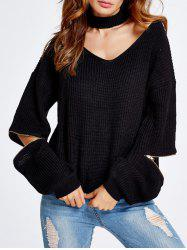 Zipper Sleeve Choker Crop Sweater -