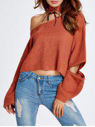 Zipper Sleeve Chocker Crop Sweater