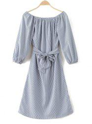 Slit Pinstripe Off The Shoulder Dress - LIGHT BLUE XL