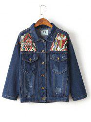 Ribbed Ethnic Embroidered Jean Jacket - DENIM BLUE