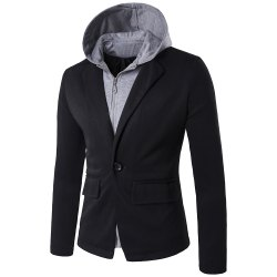 Faux Twinset Hooded Zip-Up Spliced One-Button Jacket -
