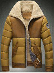 Turndown Collar Zip-Up Flocking Down Jacket