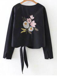 Floral Embroidery Tie Blouse -