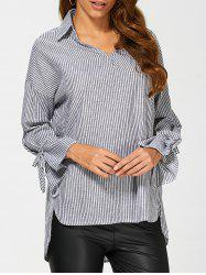 Pinstriped High Low Blouse -