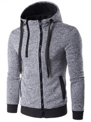 Hooded Double Zipper Drawstring Hoodie