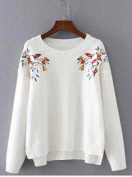Chinese Painting Embroidery Jumper Sweater - WHITE