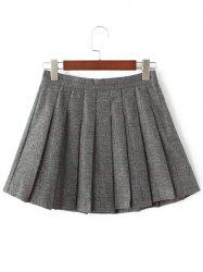 Pleated Mini Wool Tennis Skirt - GRAY