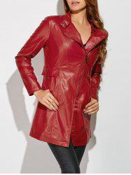 Faux Leather Zipper Biker Jacket -
