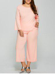 Bell Sleeve Plain T-Shirt With Pocket Design Pants Twinset -