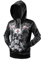 Skull 3D Print Drawstring Zip Up Hoodie - BLACK 2XL