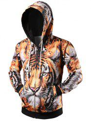 3D Tiger Printed Drawstring Zip Up Hoodie