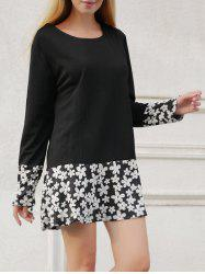 Long Sleeve Floral Print Shift Dress - BLACK