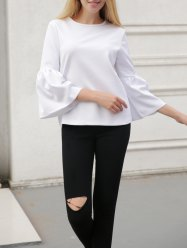 Bell Sleeve Slimming T-Shirt - WHITE L