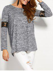 Space Dyed Lace Panel Tunic Top - GRAY XL