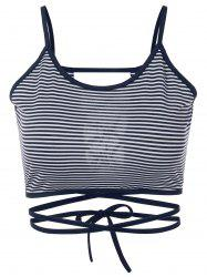 Strappy Striped Cami Cropped Tank Top -
