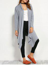 Drape Front Long Sleeve Asymmetric Cardigan