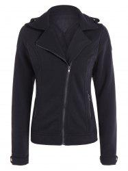Cotton Zip-Up Thickening Winter Jacket - BLACK