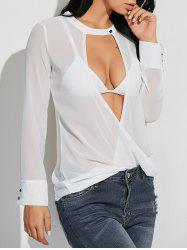 Sheer Long Sleeve Crossover Low Cut T-Shirt