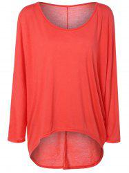 High Low Plus Size Plain T-Shirt - JACINTH