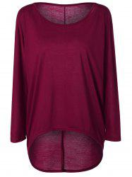 High Low Plus Size Plain T-Shirt - BURGUNDY