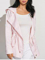 Drawstring Waist Hooded Casual Trench Jacket - PINK