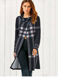 Cowl Neck Front Slit Plaid T-Shirt